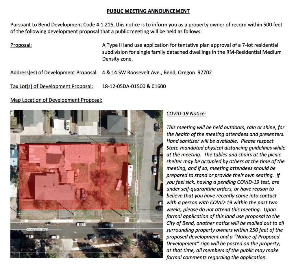 Roosevelt Subdivision Public Meeting Announcement 2020-09-08